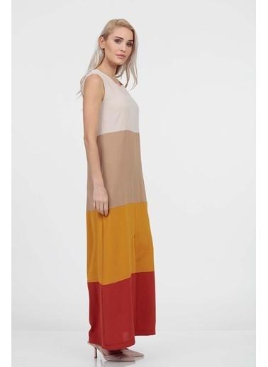 Vitrin Colorblock Sıfır Kol Elbise Vizon